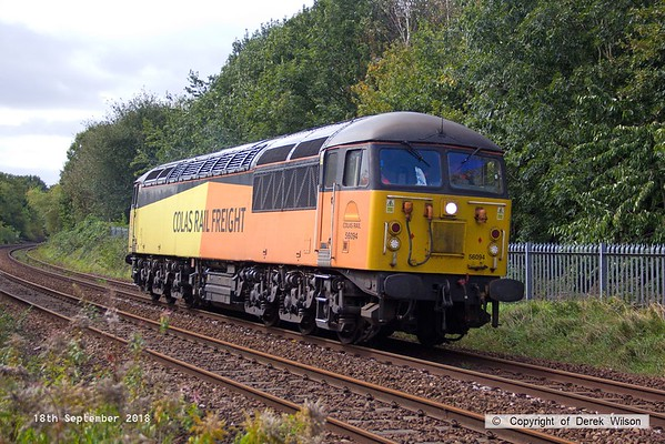 180918-003  Colas Rail Freight class 56 No. 56094 is captured approaching Princes Street footbridge with RHTT route learner 0Z22, 08:00 Barnetby sidings - Barnetby sidings.