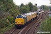 180917-008  Network Rail test train 1Q64, 09:11 Burton Wetmore Sidings - Leeds Neville Hill T.&R.S.M.D. is seen passing Tenter Lane, Mansfield, powered 'top & tail' by 37612 in unbranded DRS blue, and 37610 (nearest) in non-standard blue. Both are on hire to Colas Rail Freight, 37610 having recently returned to main line action after a long absence.