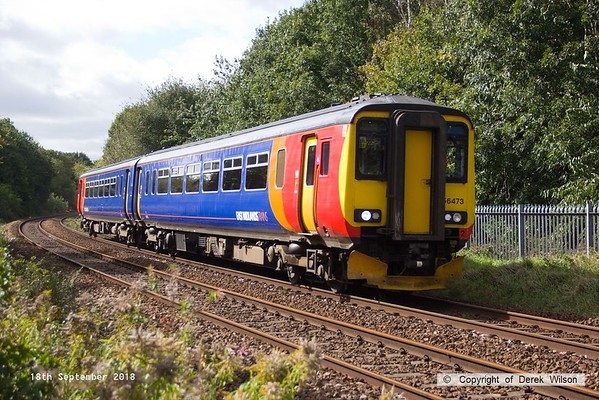 180918-001  East Midlands Trains class 156 unit No. 156473 approaching Princes Street footbridge with 2H13, the 12:55 Nottingham - Mansfield Woodhouse.