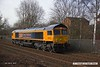180308-001  GB Railfreight class 66 No. 66782 nearing Tenter Lane Mansfield with East Midlands Trains route learner 0H03, 10:50 Codnor Park Junction - Mansfield Woodhouse. This is ex DBC 66046, which was the first of the ten purchased by GBRf to be released from Arlington Rail Services, in it's new identity.