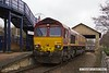 180308-003  Ex DBC class 66 no. 66008, which is now part of the GB Railfreight fleet is seen pulling into platform three at Mansfield Woodhouse with East Midlands Trains route learner 0H01, 08:34 Etches Park sidings - Mansfield Woodhouse. 66008 is one of a batch of ten 66's purchased by GB and is to be renumbered 66780.