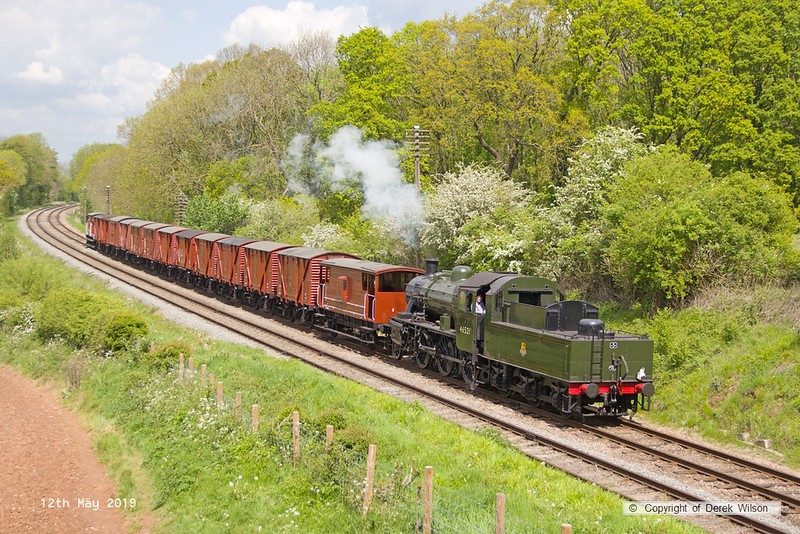 190512-033  LMS 2MT 2-6-0 No. 46521 passing Kinchley Lane with the lovely set of vans, running as 9S22, 12:25 Loughborough - Swithland.