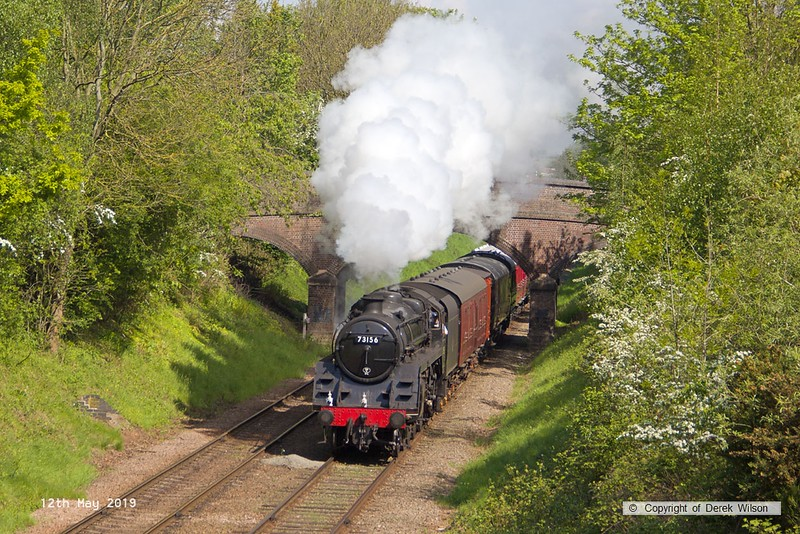 190512-019  BR 5MT 4-6-0 No. 73156 is seen passing Charnwood with 2C12, 10:28 Loughborough - Rothley Brook.