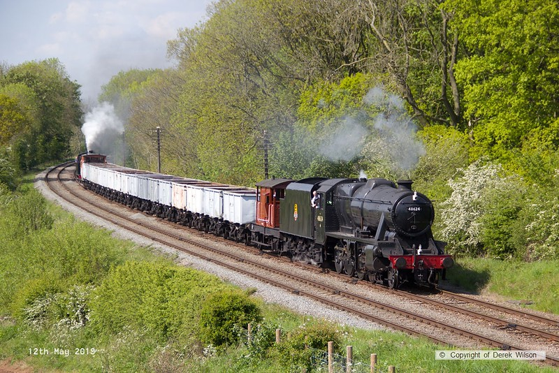 190512-063  LMS Stanier 8F 2-8-0 No. 48624 top and tail with LMS Jinty 3F 0-6-0T No. 47406 is captured passing Kinchley Lane with the mineral wagons, running as 7S35, 15:10 Loughborough - Swithland.