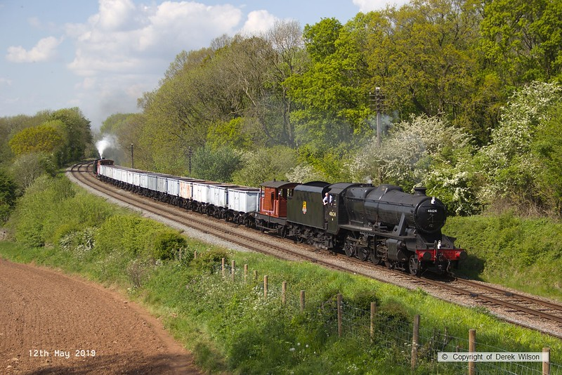 190512-065  LMS Stanier 8F 2-8-0 No. 48624 top and tail with LMS Jinty 3F 0-6-0T No. 47406 is captured passing Kinchley Lane with the mineral wagons, running as 7S35, 15:10 Loughborough - Swithland.