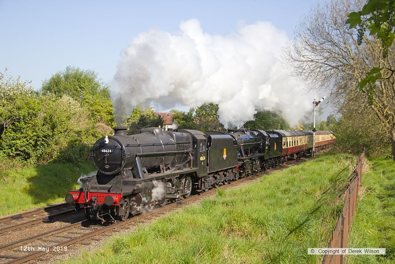 190512-002  LMS Stanier 8f's No's 48624 & 48305 are captured leaving Loughborough, double heading 2A07, the 09:15 Loughborough - Leicester North.