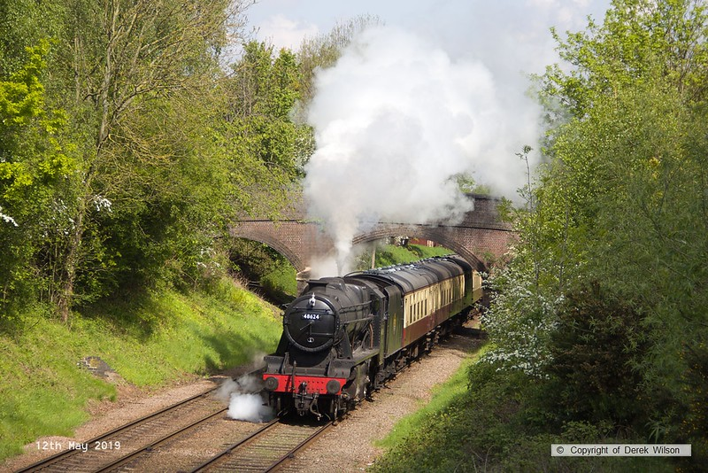 190512-024  LMS Stanier 8F 2-8-0 No. 48624 passing Charnwood with 2A16, the 11:00 Loughborough - Leicester North.
