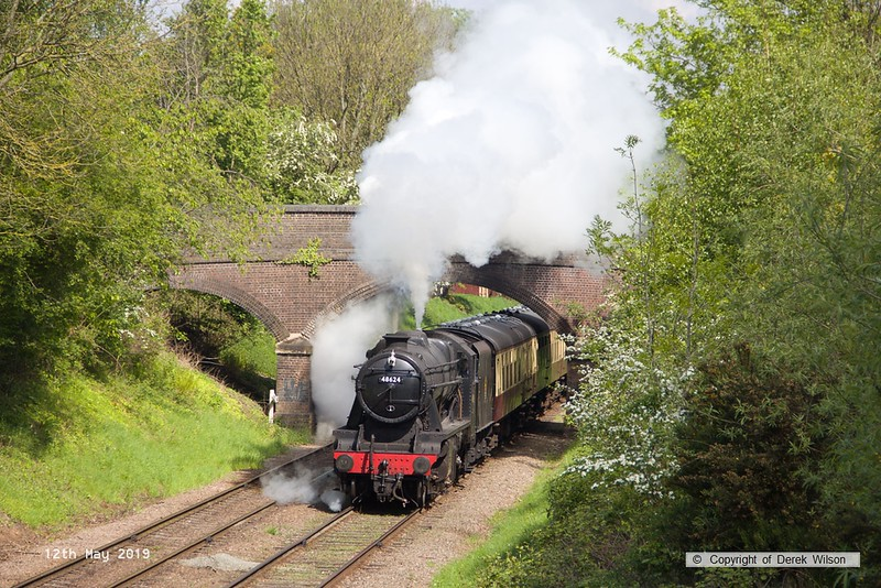 190512-022  LMS Stanier 8F 2-8-0 No. 48624 passing Charnwood with 2A16, the 11:00 Loughborough - Leicester North.