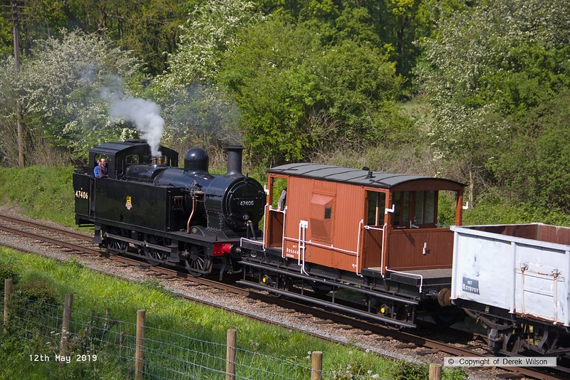 190512-067  LMS Jinty 3F 0-6-0T No. 47406 passes Kinchley Lane at the rear of the mineral wagons, with 48624 out of shot, leding the train, 7S35, 15:10 Loughborough - Swithland.