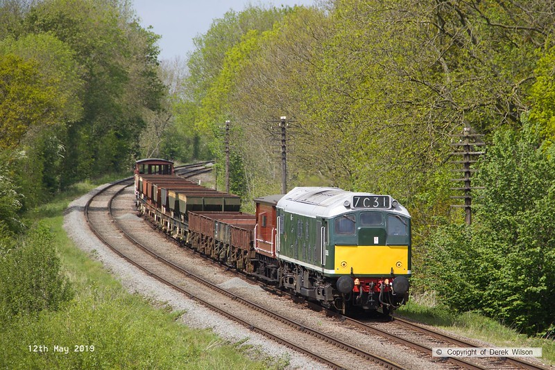 190512-050  BR type two, class 25 No. D5185 is seen hauling a rake of engineers wagons, captured passing Kinchley Lane as 7C31, 14:10 Loughborough - Swithland.