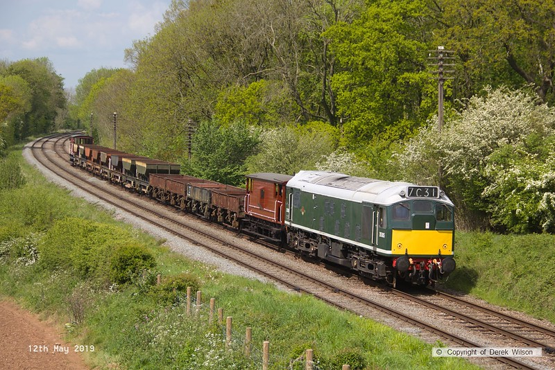190512-052  BR type two, class 25 No. D5185 is seen hauling a rake of engineers wagons, captured passing Kinchley Lane as 7C31, 14:10 Loughborough - Swithland.