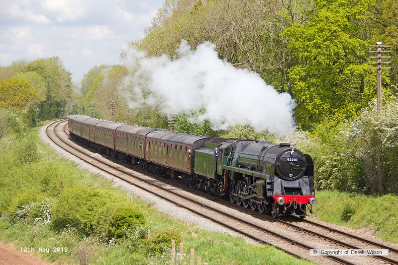 190512-029  BR 9F 2-10-0 No. 92214 Leicester City, captured passing Kinchley Lane with 2A19, the 11:50 Loughborough - Leicester North.