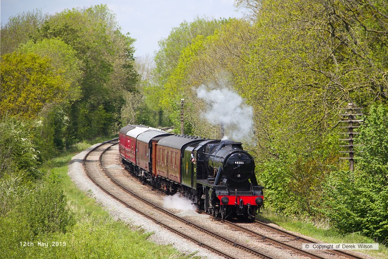 190512-042  LMS Stanier 8F 2-8-0 No. 48305 is captured passing Kinchley Lane with the parcels train, running as 2C19, 13:22 Loughborough - Rothley Brook.
