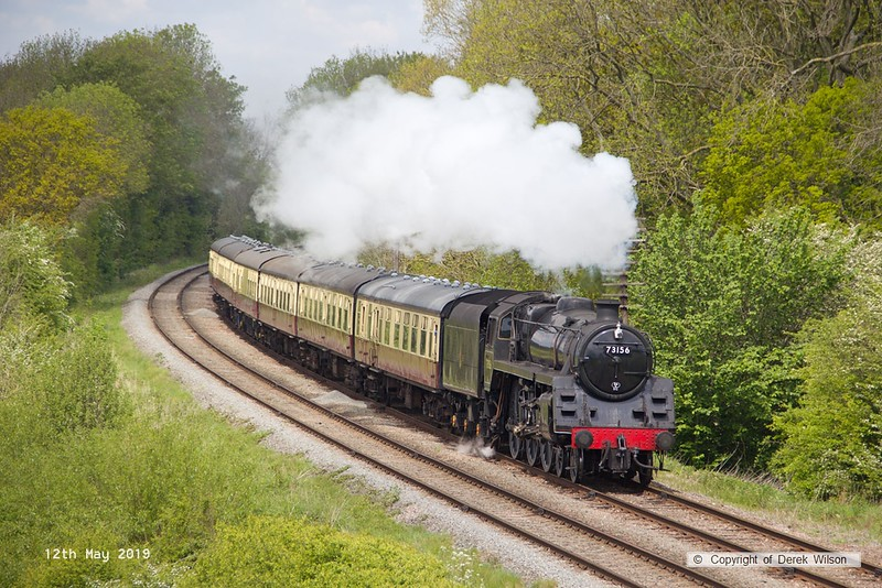 190512-035  BR 5MT 4-6-0 No. 73156 approaching Kinchley Lane, powering 2A24, the 12:40 Loughborough - Leicester North.