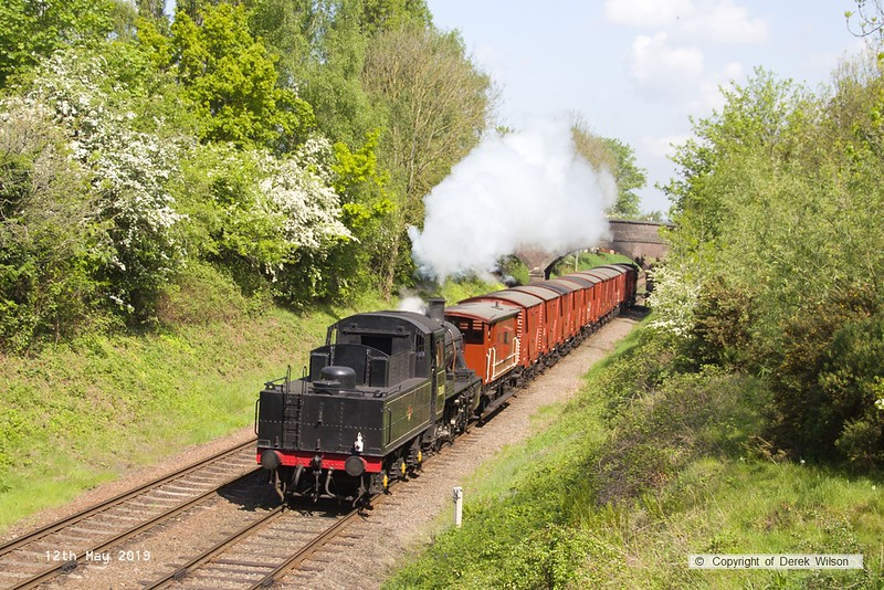 190512-021  BR 2MT 2-6-0 No. 78018 is seen passing Charnwood tender-first with the immaculate set of vans in tow, running as 9C14, 10:50 Loughborough - Swithland.