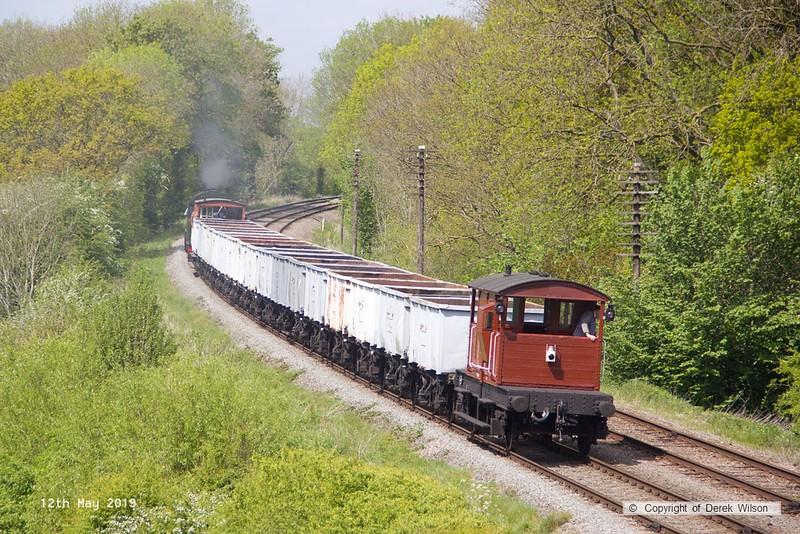 190512-049  LMS 2MT 2-6-0 No. 46521 with the mineral wagons is seen passing Kinchley Lane as 7D25, 13:50 Rothley Brook - Loughborough.