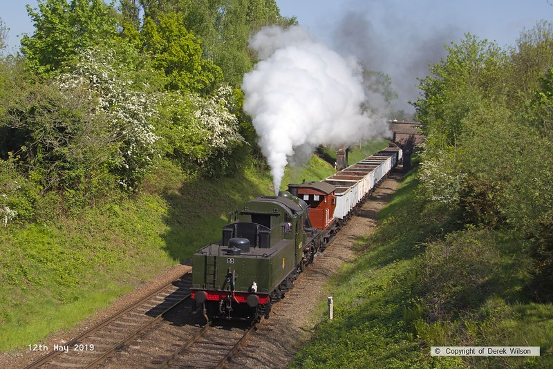 190512-014  LMS 2MT 2-6-0 No. 46521 passing Charnwood tender-first with the mineral wagons, running as 7C08, 10:00 Loughborough - Swithland.