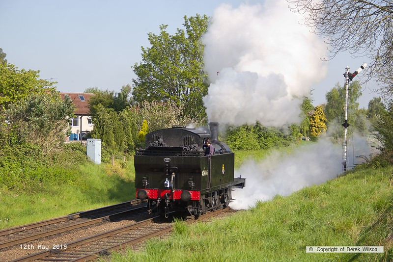 190512-006  LMS 'Jinty' 3F 0-6-0T No. 47406 passing Charnwood bunker-first, running as 0M00, 09:30 Loughborough - Swithland.