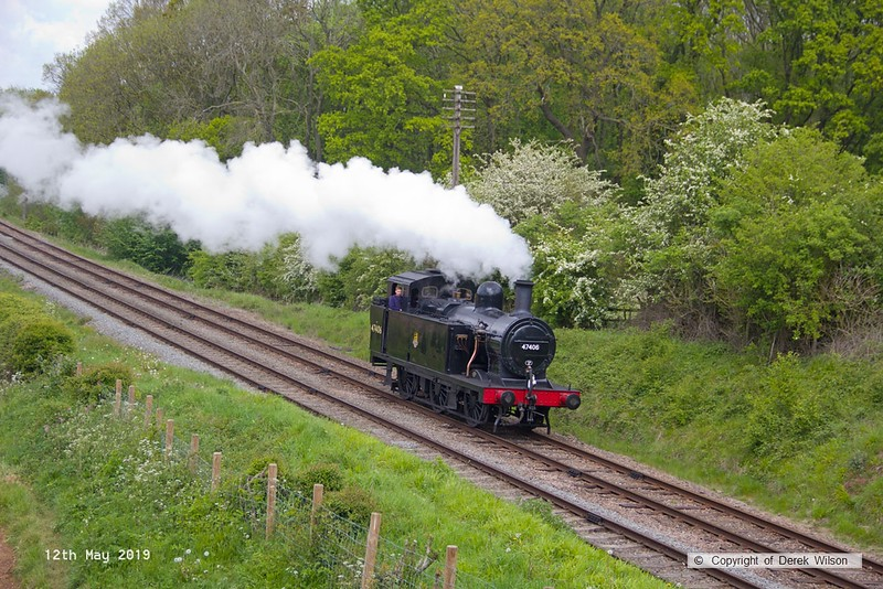 190512-038  LMS 'Jinty' 3F 0-6-0T  No. 47406 is seen passing Kinchley Lane, heading to Swithland after being turned round at Quorn.