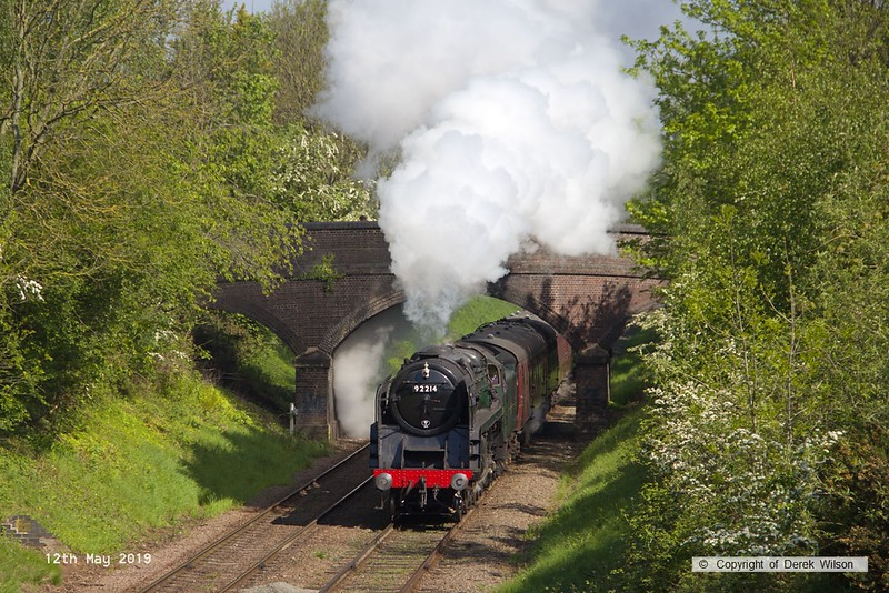 190512-015  BR 2-10-0 No. 92214 Leicester City is captured passing Charnwood, powering 2A11, the 10:10 Loughborough - Leicester North.