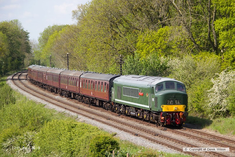 190512-068  BR 'Peak' type four, class 45 No. D123 Leicestershire and Derbyshire Yeomanry, captured passing Kinchley Lane with 2A37, 15:20 Loughborough - Leicester North.
