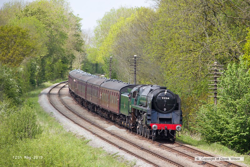 190512-046  BR 9F 2-10-0 No. 92214 Leicester City is seen passing Kinchley Lane with 2A30, 13:45 Loughborough - Leicester North.
