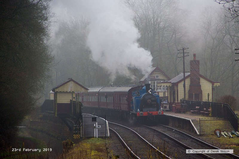 190223-001  Caledonian Railway class 439 0-4-4T No. 419 (BR No. 55189) pulling into a misty Consall, with the 09:15 Froghall - Ipstones.