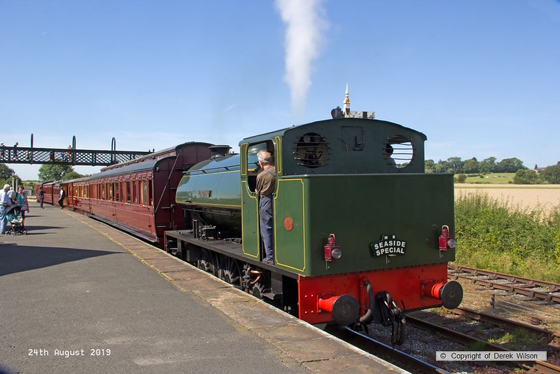 190824-009  Hunslet austerity 0-6-0ST No. 3883 Lord Phil with the vintage train stock is seen at Swanwick Junction, working the 13:25 from Butterley.
