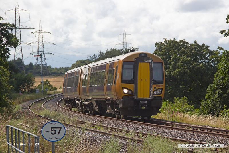 190806-001  West Midlands Railway class 172 unit No. 172222 spent three days on the High Marnham Test Track from the 6th to the ninth of August, for low-adhesion brake testing. It is captured on the former Lancashire Derbyshire & East Coast Railway, passing Clipstone triangle, running as 5Q28, 13:18 Tyseley T.M.D. - High Marnham.
