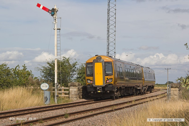 190806-008  West Midlands Railway class 172 unit No. 172222 spent three days on the High Marnham Test Track from the 6th to the ninth of August, for low-adhesion brake testing. It is captured on the former Lancashire Derbyshire & East Coast Railway, passing Clipstone triangle, running as 5Q28, 13:18 Tyseley T.M.D. - High Marnham.