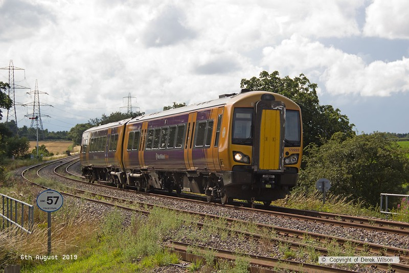 190806-003  West Midlands Railway class 172 unit No. 172222 spent three days on the High Marnham Test Track from the 6th to the ninth of August, for low-adhesion brake testing. It is captured on the former Lancashire Derbyshire & East Coast Railway, passing Clipstone triangle, running as 5Q28, 13:18 Tyseley T.M.D. - High Marnham.