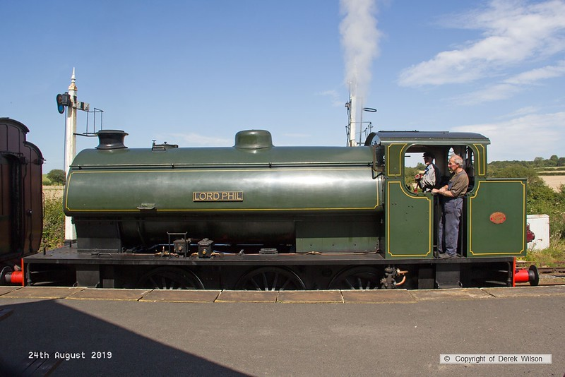 190824-010  Hunslet austerity 0-6-0ST No. 3883 Lord Phil with the vintage train stock is seen at Swanwick Junction, working the 13:25 from Butterley.
