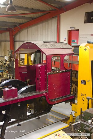 190824-014  Patriot Project's new build LMS Patriot class 4-6-0 No. 5551 Unknown Warrior, seen inside the West shed at Swanwick where the locomotive is to be completed.