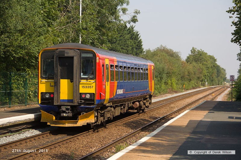 190827-005  East Midlands Railway class 153 unit No. 153357 speed past Rolleston with 2N35, the 11:37 Matlock - Newark Castle.