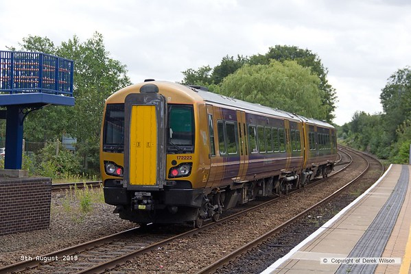 190809-007  West Midlands Railway class 172 unit No. 172222 is captured passing through Mansfield Woodhouse after visiting the High Marnham Test track for low-adhesion brake testing. 5Q22, 12:15 High Marnham - Tyseley T.M.D.