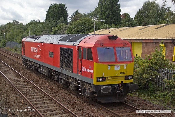 190821-003  DB Cargo class 60 No. 60007 The Spirit of Tom Kendell passes Tenter Lane, Mansfield with route learner 0Z64, 13:25 Toton TMD - Worksop up Receptions