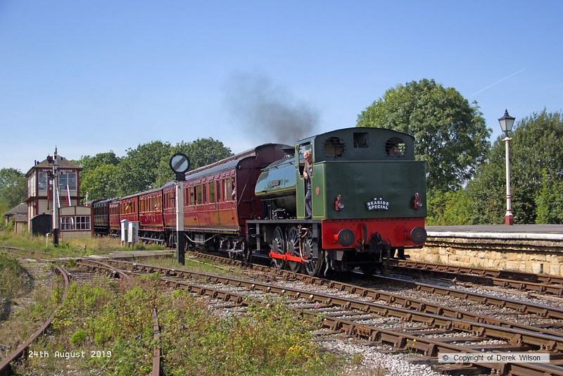 190824-005  Hunslet austerity 0-6-0ST No. 3883 Lord Phil pulling in to Swanwick Junction with the vintage train stock.