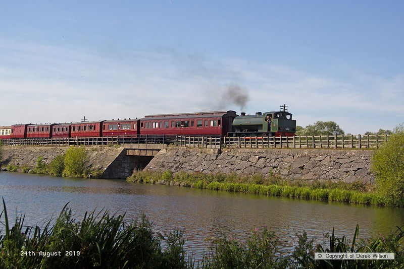 190824-019  Hunslet austerity 0-6-0ST No. 3883 Lord Phil is captured crossing Butterley reservoir with the 14:36 from Hammersmith. seen during the Midland Railway's vintage trains event.