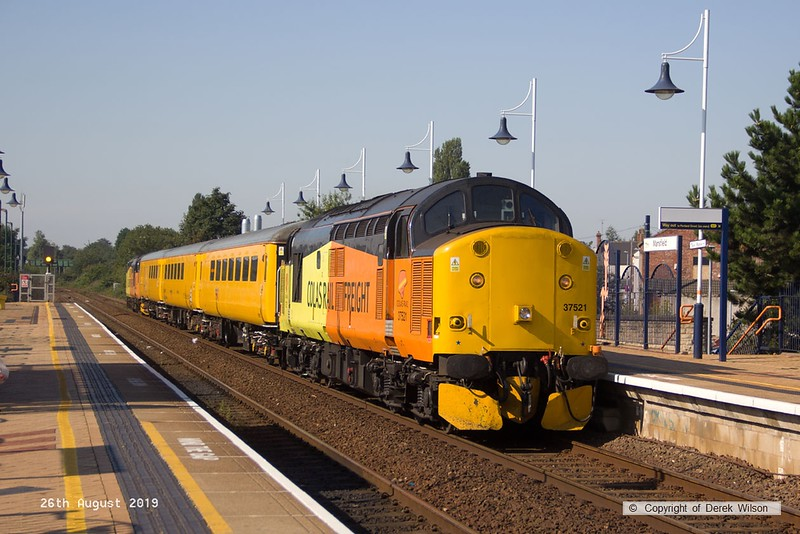190826-003  Test Train 1Q64, 08:52 Derby R.T.C. Doncaster West Yard is captured passing through Mansfield, powered (top & tail) by 37521 and 37099 Merl Evans 1947 – 2016.