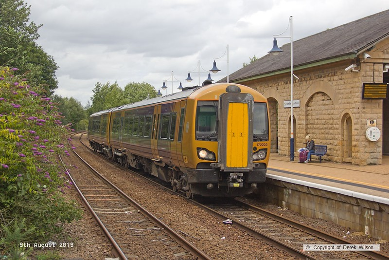 190809-005  West Midlands Railway class 172 unit No. 172222 is captured passing through Mansfield Woodhouse after visiting the High Marnham Test track for low-adhesion brake testing. 5Q22, 12:15 High Marnham - Tyseley T.M.D.