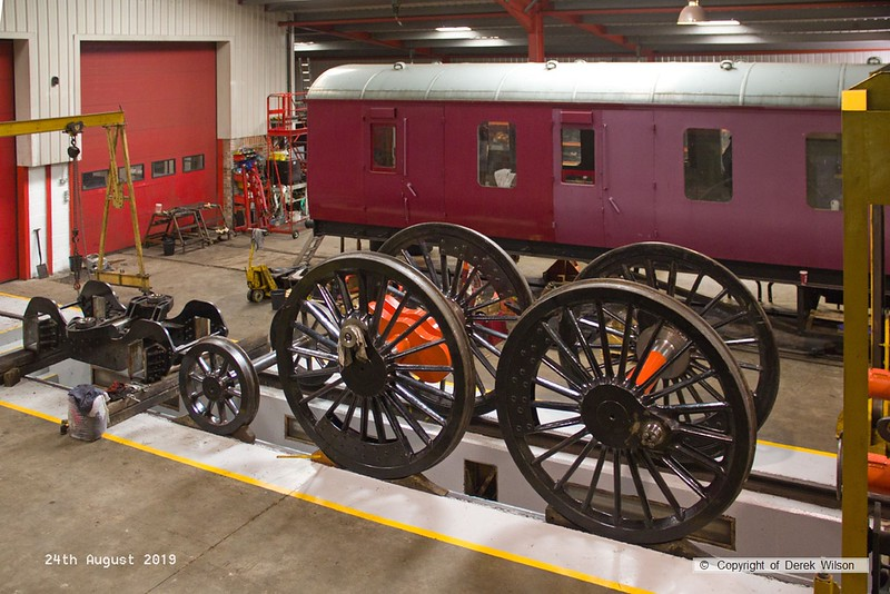 190824-016  Patriot Project's new build LMS Patriot class 4-6-0 No. 5551 Unknown Warrior, seen inside the West shed at Swanwick where the locomotive is to be completed.