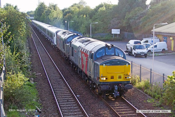 190829-001  Rail Opreations Group (ROG) class 37's No's 37611 Pegasus & 37800 Cassiopeia roar past Tenter Lane, Mansfield, powering 5Q26, 12:11 Hanwell Bridge loop - Worksop down yard. In tow is Crossrail electric unit No. 345063. This started from Old Oak depot as 5Q26, 08:06 to Worksop down yard but was terminated at Hanwell loop after arriving 60 mins down.