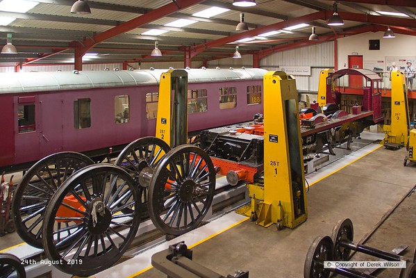 190824-013  Patriot Project's new build LMS Patriot class 4-6-0 No. 5551 Unknown Warrior, seen inside the West shed at Swanwick where the locomotive is to be completed.