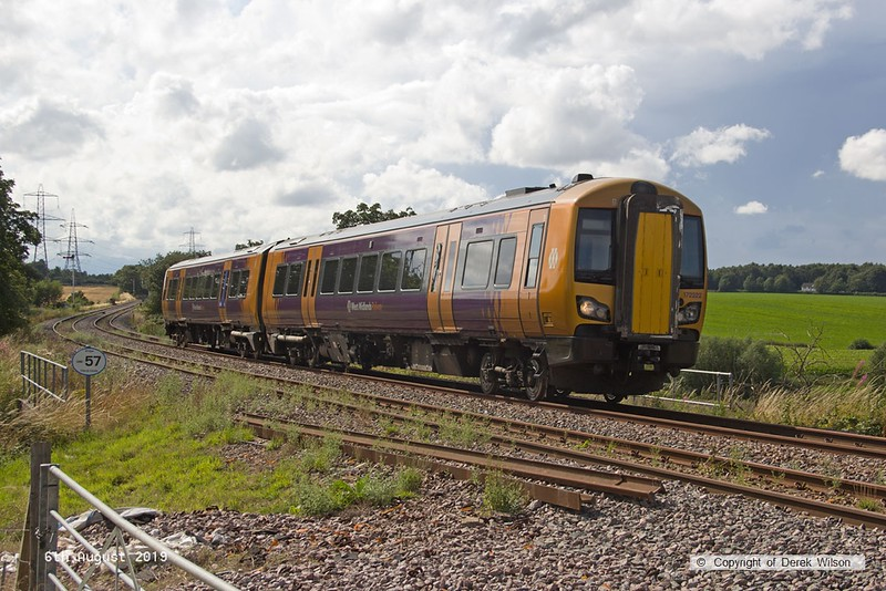 190806-005  West Midlands Railway class 172 unit No. 172222 spent three days on the High Marnham Test Track from the 6th to the ninth of August, for low-adhesion brake testing. It is captured on the former Lancashire Derbyshire & East Coast Railway, passing Clipstone triangle, running as 5Q28, 13:18 Tyseley T.M.D. - High Marnham.