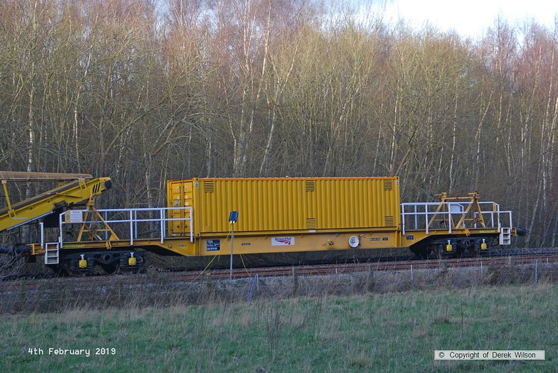 190204-012  YSA bogie support vehicle DB 979119, seen with Track Renewal System 2 at Ollerton, on the High Marnham Test Track.