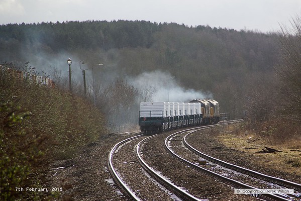 190207-026  Direct Rail Services class 37's No's 37407 and 37403 Isle of Mull are captured powering away from Shirebrook with train 6Z37, 12:10 Shirebrook, W.H. Davis - Crewe Coal Sidings. In tow are eight new FNA nuclear flask wagons.