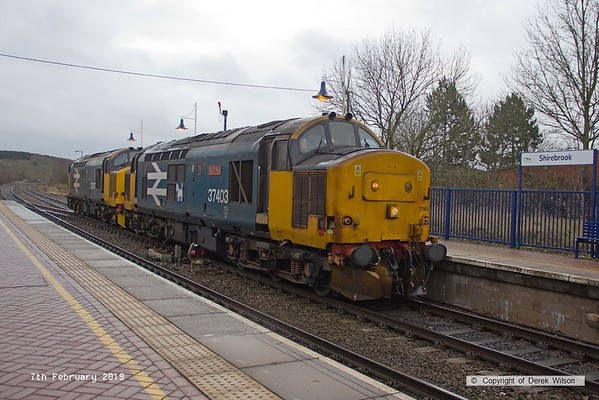 190207-004  Direct Rail Services class 37's No's 37403 Isle of Mull and 37407 are seen at Shirebrook, running as 0Z37, 09:00 Derby RTC - Shirebrook, W.H. Davis.