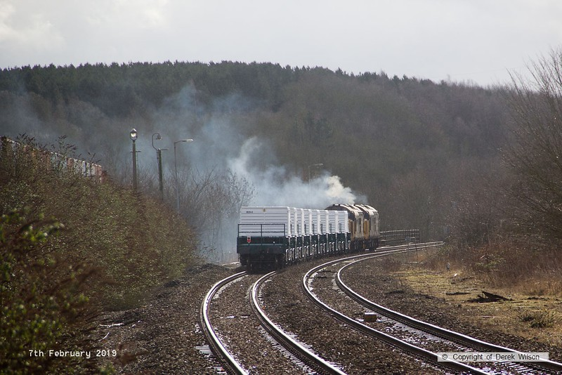 190207-025  Direct Rail Services class 37's No's 37407 and 37403 Isle of Mull are captured powering away from Shirebrook with train 6Z37, 12:10 Shirebrook, W.H. Davis - Crewe Coal Sidings. In tow are eight new FNA nuclear flask wagons.