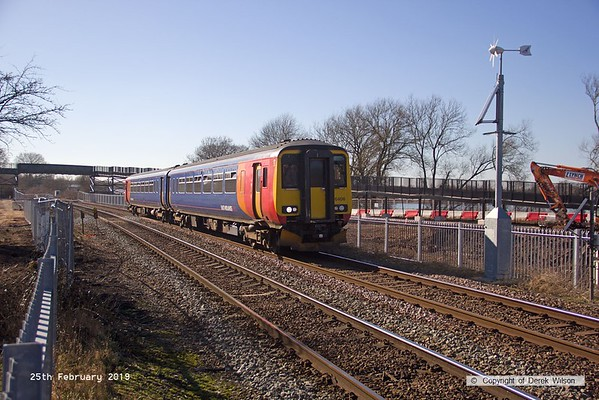 190226-001  East Midlands Trains class 156 unit No. 156406 is seen passing King's Mill foot crossing with 2W12, the 12:26 Nottingham - Worksop. In the background work continues apace with the construction of a monstrous footbridge that will replace the crossing. This has been designed for horses to cross and is due to open on the 29th March.