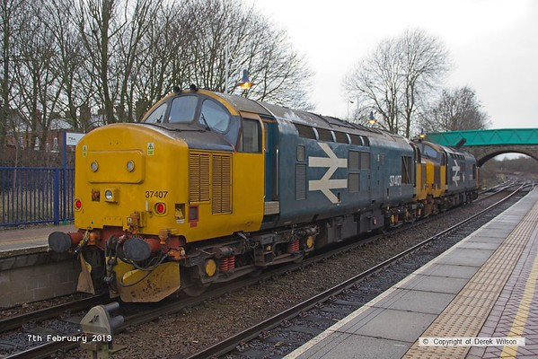 190207-005  Direct Rail Services class 37's No's 37403 Isle of Mull and 37407 are seen at Shirebrook, running as 0Z37, 09:00 Derby RTC - Shirebrook, W.H. Davis.